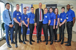 Apprentices with Transport Secretary Chris Grayling